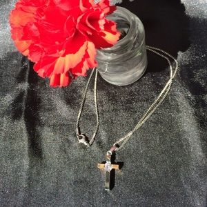 Jewelry - Necklace with 2 tone cross & faux diamond accent